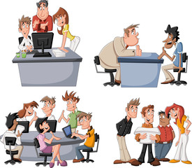 Happy cartoon business people working on office