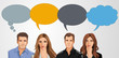 Business people with speech balloon icons