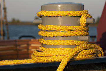 Yellow rope on a boat.