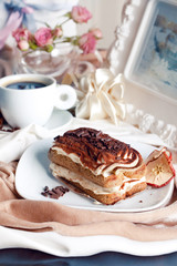 beautiful tiramisu in a still life