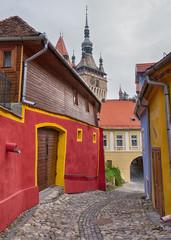 Ancient alley in Sighisoara, Transylvania.