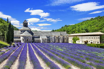 Abbaye de Senanque with  lavender field, Provence, France