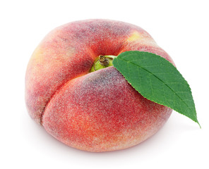 Chinese flat donut peach with leaf isolated on white