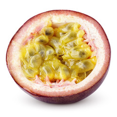 Half of passion fruit isolated on white with clipping path