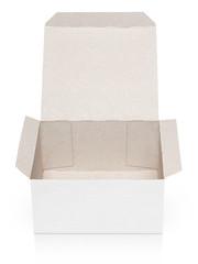 Opened empty cardboard box isolated on white background