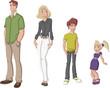 Happy cartoon family. White people.