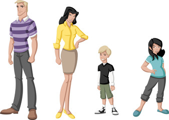 Happy cartoon family. White people.