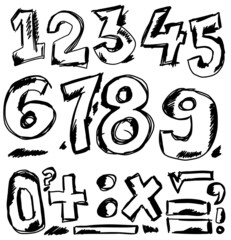 Hand drawn numbers, doodles