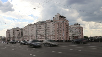 Daily traffic on the streets in the center of Moscow, Russia