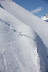 mountain slope and snow cornice
