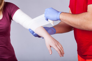 Bandaging of arm