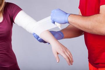 Bandaging of arm