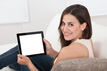 Woman Holding Digital Tablet With Blank Screen