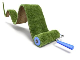Green paint of grass carpet