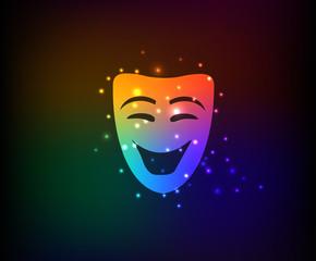 Smile mask symbol,Rainbow vector