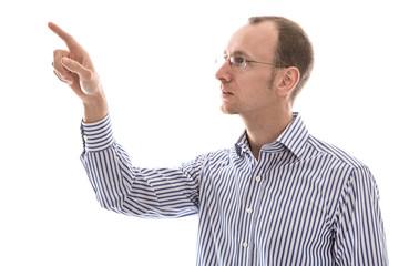 Business Mann isoliert mit Zeigefinger