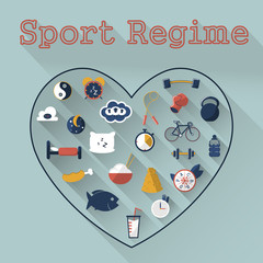 Illustration of flat sport icons