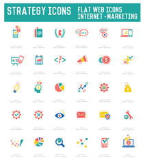 Strategy icon set on white background,vector