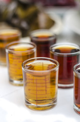 Sauces in glass measuring cup