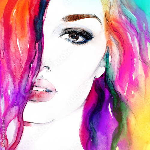 In de dag Aquarel Gezicht woman portrait .abstract watercolor .fashion background