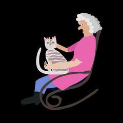grandmother in a rocking chair with a cat