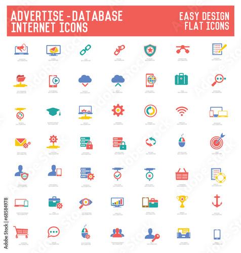 Advertise,Database & internet icon set - 68584978