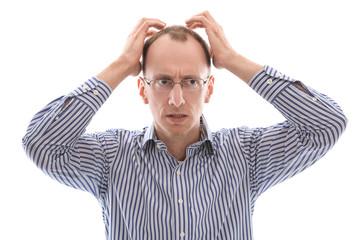 Konzept Depression oder Burnout: Mann isoliert mit Haarausfall