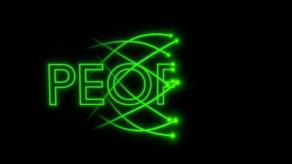VJ loop - musical neon sign - people