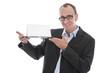 Business Mann isoliert mit Schild auf Tablett: Präsentation