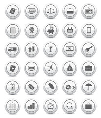 Business and technology icons on white background