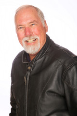 Mature man in a leather jacket