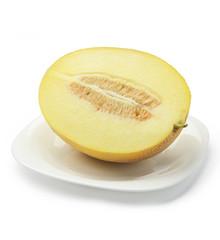 Half of cantaloupe melon on plate