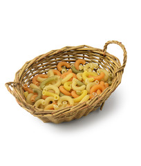 Macaroni in basket isolated
