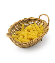 Rotini pasta in basket isolated