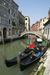 Venetian Gondolas Venice Italy Canal
