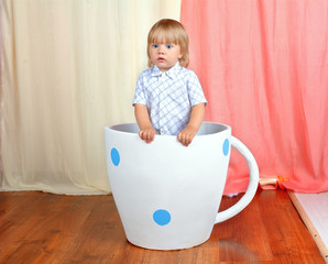 Little boy in the big cup