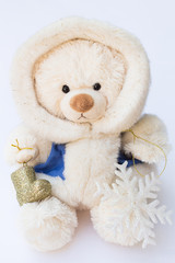 White Teddy Bear in a Winter Coat and Two Christmas Tree Ornamen
