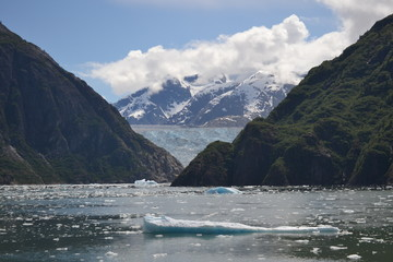 Heavy Ice Flows Near Sawyer Glacier