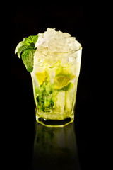 mojito lime juice brown sugar rum ice crushed mint
