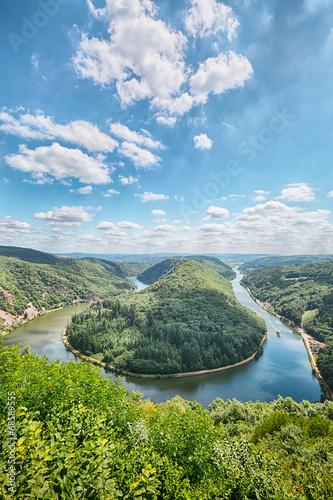 Leinwanddruck Bild Saar River Bend - Saarschleife
