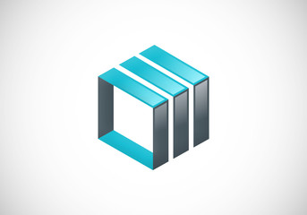 square 3D construction vector logo