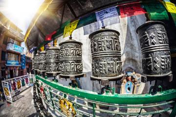 Prayer wheels at Kathesimbhu stupa