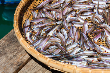 Small Fish drying on bamboo basket in the sun