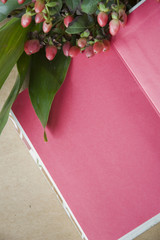 flowers on pink notebook
