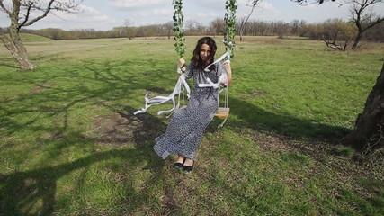 Beautiful Woman on a Swing (Slow Motion)