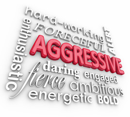 Aggressive Bold Forceful 3d Words Text Background