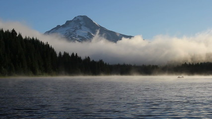 Fog and Clouds in Trillium Lake with Mt Hood in OR at Sunrise