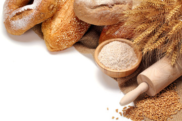 Bread,flour and wheat grains