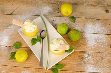 Homemade lemon sorbet