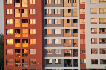 urban house exterior in evening sunlight